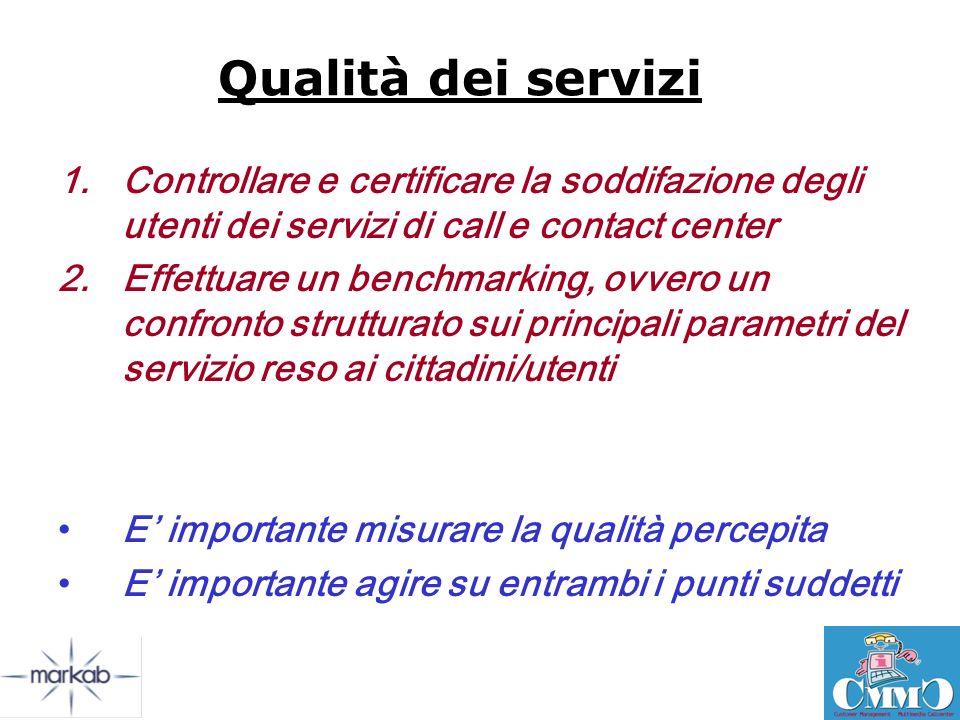 Qualità dei servizi Controllare e certificare la soddifazione degli utenti dei servizi di call e contact center.
