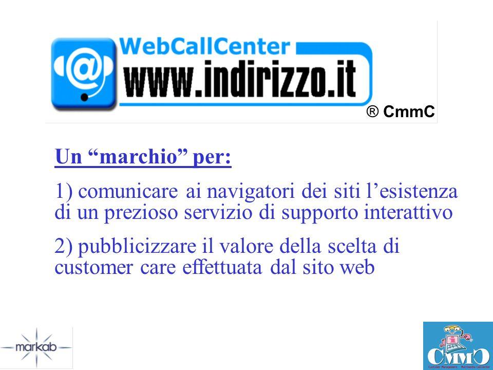 ® CmmC Un marchio per: 1) comunicare ai navigatori dei siti l'esistenza di un prezioso servizio di supporto interattivo.