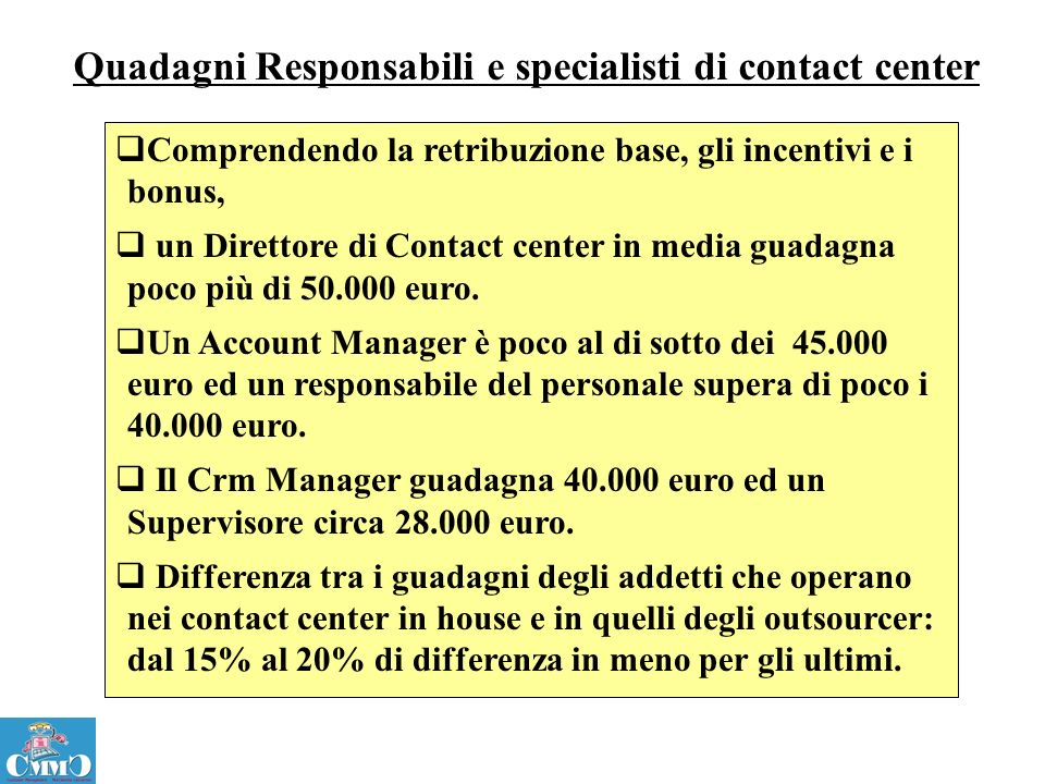 Quadagni Responsabili e specialisti di contact center