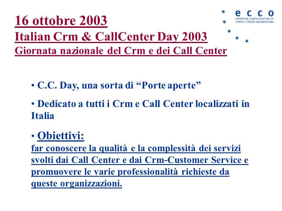 16 ottobre 2003 Italian Crm & CallCenter Day 2003 Giornata nazionale del Crm e dei Call Center