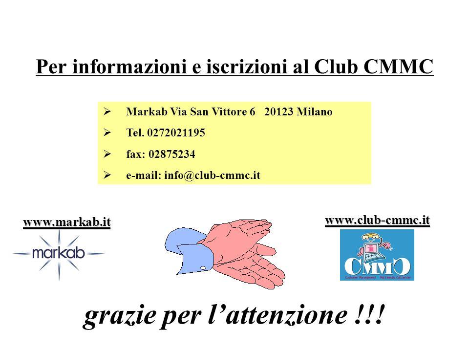 Per informazioni e iscrizioni al Club CMMC