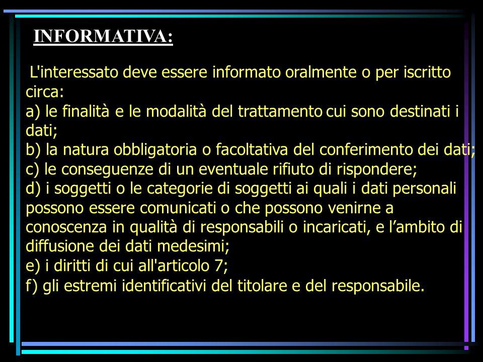 INFORMATIVA: L interessato deve essere informato oralmente o per iscritto circa: