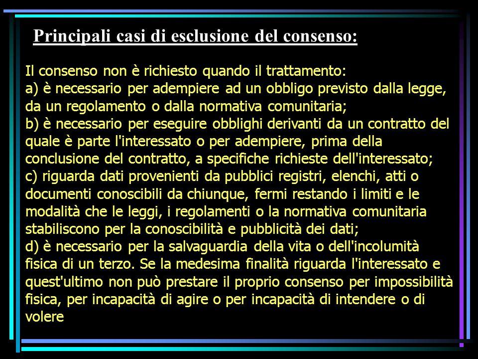 Principali casi di esclusione del consenso: