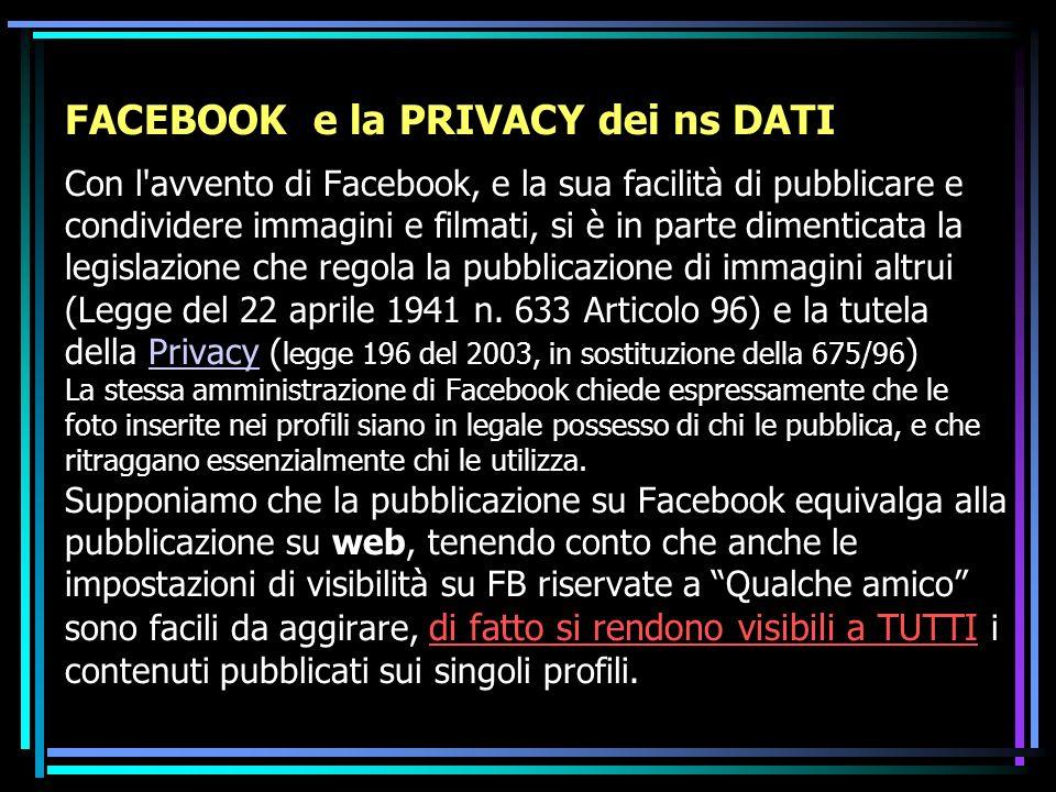 FACEBOOK e la PRIVACY dei ns DATI Con l avvento di Facebook, e la sua facilità di pubblicare e condividere immagini e filmati, si è in parte dimenticata la legislazione che regola la pubblicazione di immagini altrui (Legge del 22 aprile 1941 n.