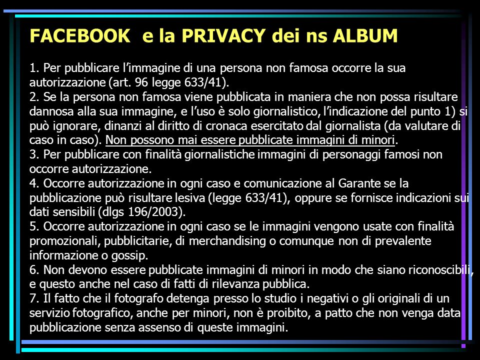 FACEBOOK e la PRIVACY dei ns ALBUM 1