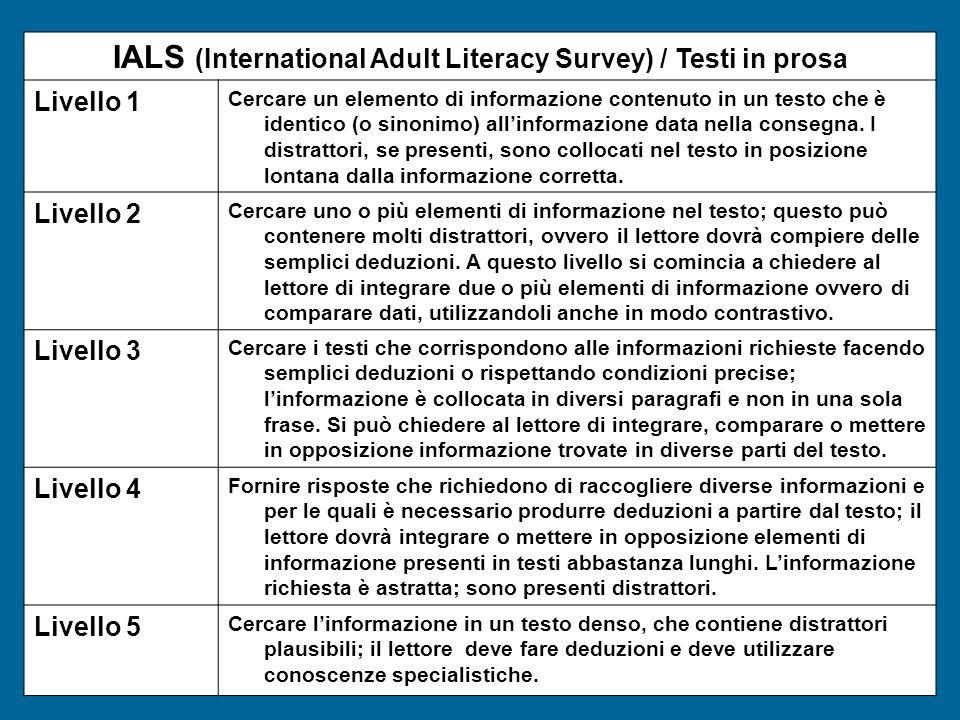 IALS (International Adult Literacy Survey) / Testi in prosa