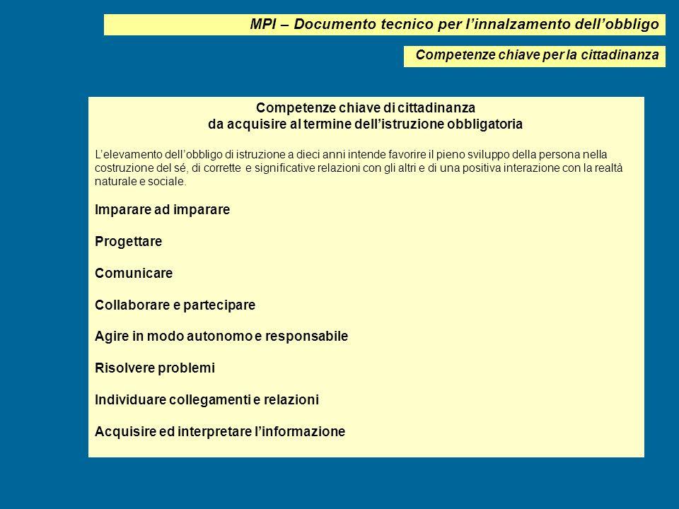MPI – Documento tecnico per l'innalzamento dell'obbligo