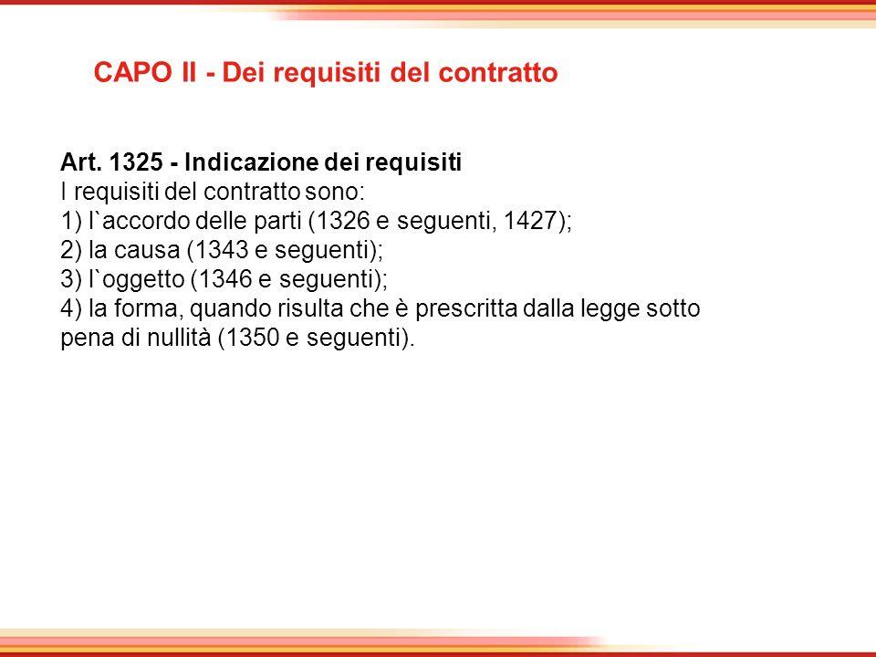 CAPO II - Dei requisiti del contratto
