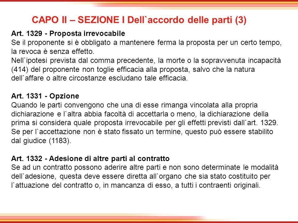 CAPO II – SEZIONE I Dell`accordo delle parti (3)