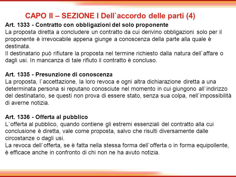 CAPO II – SEZIONE I Dell`accordo delle parti (4)