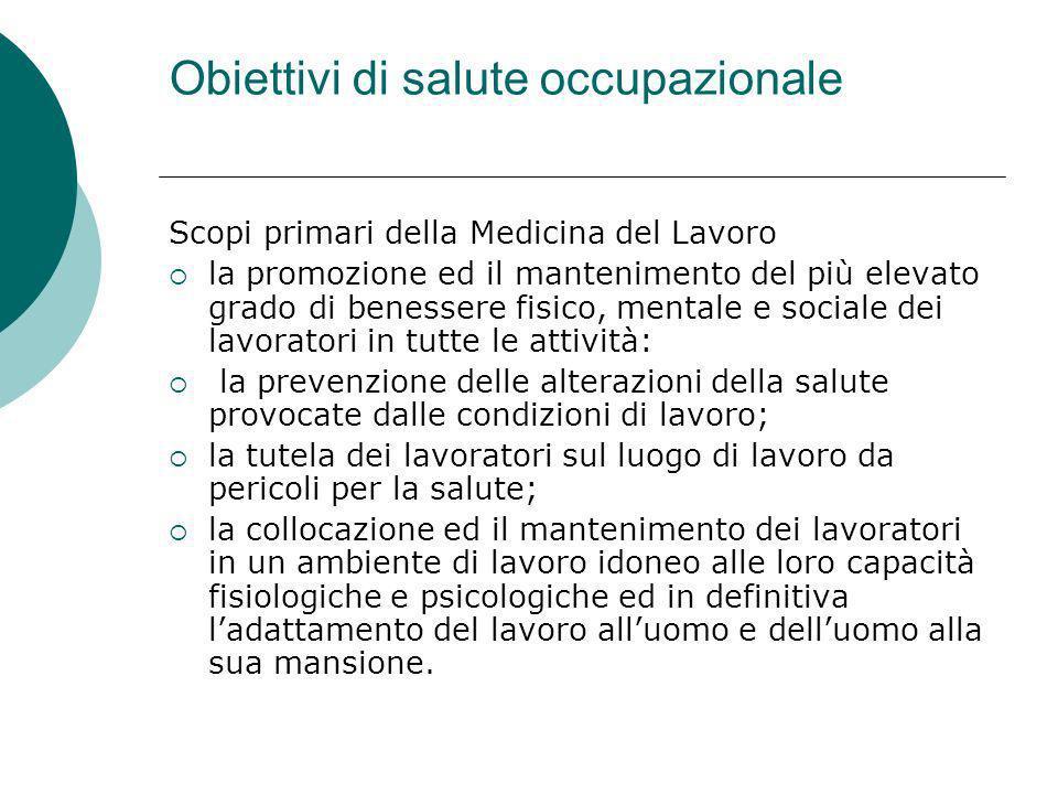 Obiettivi di salute occupazionale