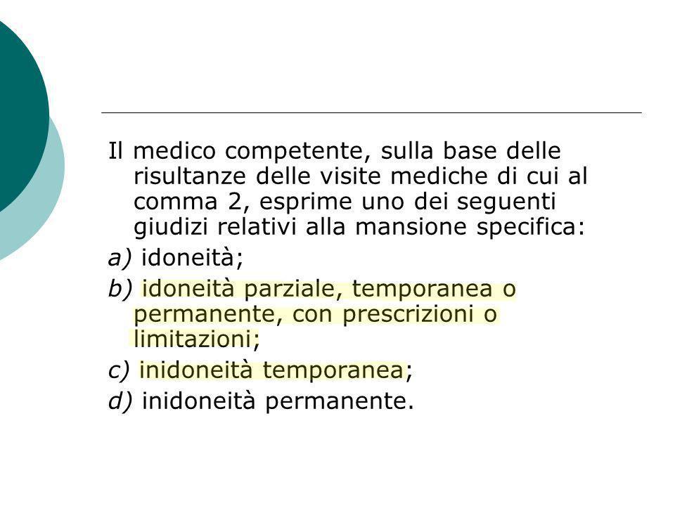 Il medico competente, sulla base delle risultanze delle visite mediche di cui al comma 2, esprime uno dei seguenti giudizi relativi alla mansione specifica: