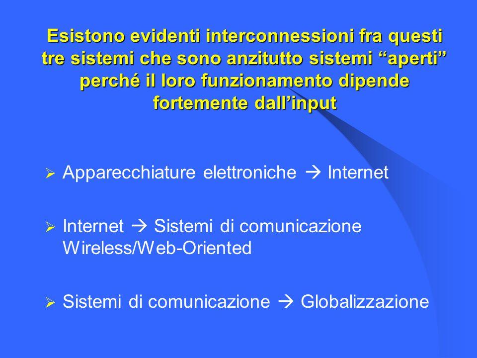 Esistono evidenti interconnessioni fra questi tre sistemi che sono anzitutto sistemi aperti perché il loro funzionamento dipende fortemente dall'input
