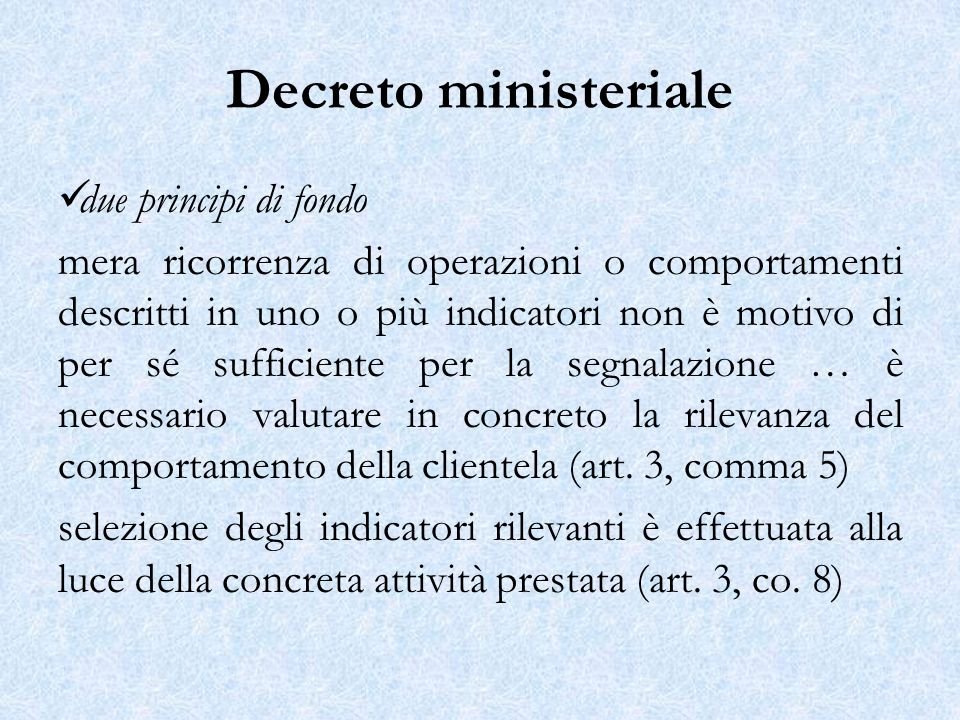 Decreto ministeriale due principi di fondo