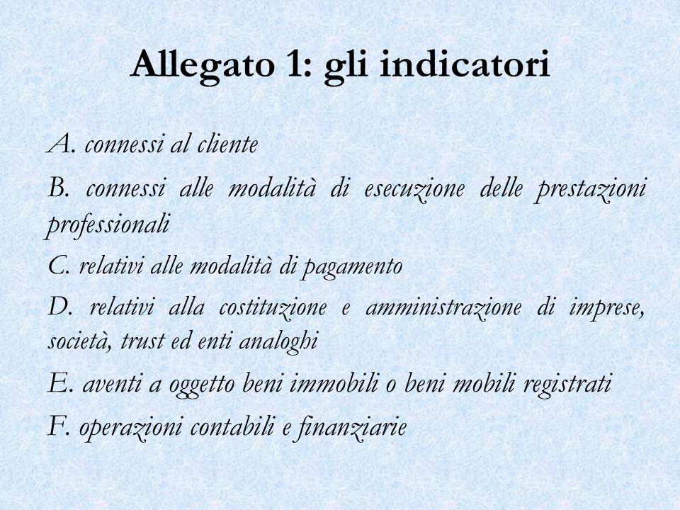 Allegato 1: gli indicatori