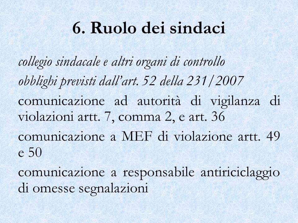 6. Ruolo dei sindaci collegio sindacale e altri organi di controllo