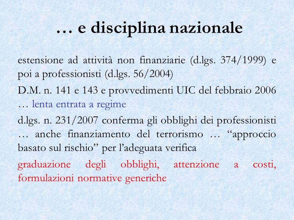 … e disciplina nazionale