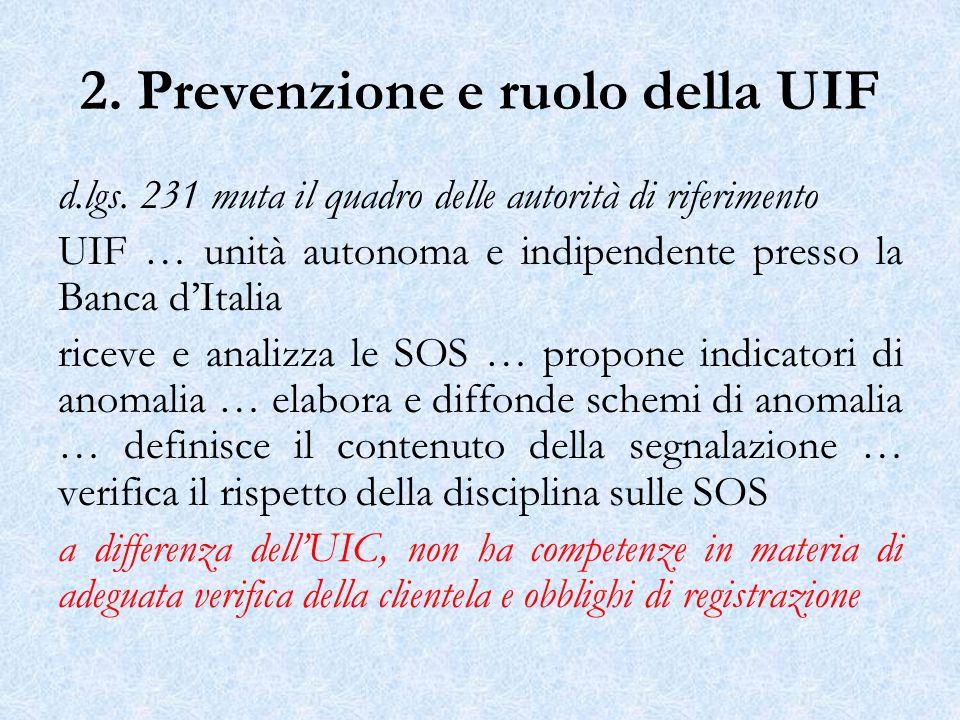 2. Prevenzione e ruolo della UIF