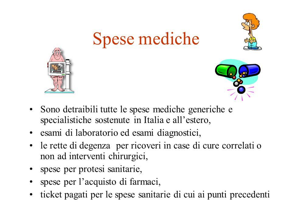 Spese mediche Sono detraibili tutte le spese mediche generiche e specialistiche sostenute in Italia e all'estero,