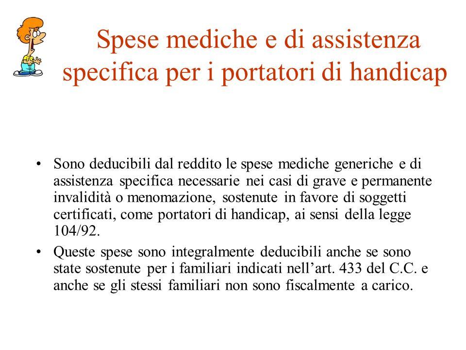 Spese mediche e di assistenza specifica per i portatori di handicap