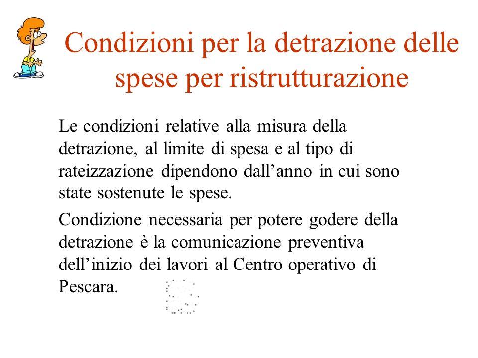 Condizioni per la detrazione delle spese per ristrutturazione