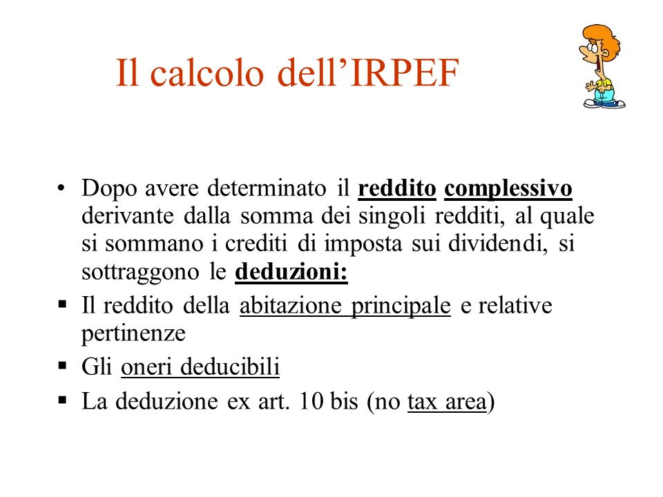 Il calcolo dell'IRPEF