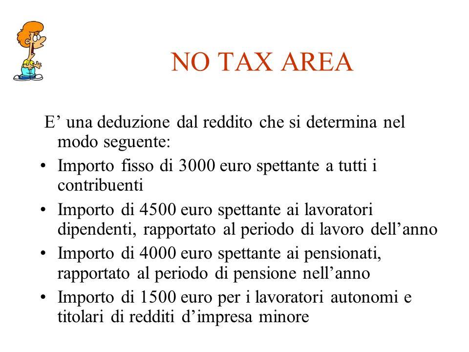 NO TAX AREA E' una deduzione dal reddito che si determina nel modo seguente: Importo fisso di 3000 euro spettante a tutti i contribuenti.