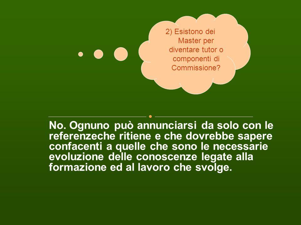 2) Esistono dei Master per diventare tutor o componenti di Commissione