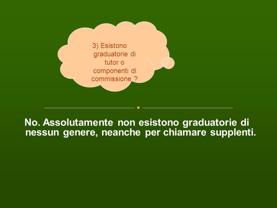 3) Esistono graduatorie di tutor o componenti di commissione