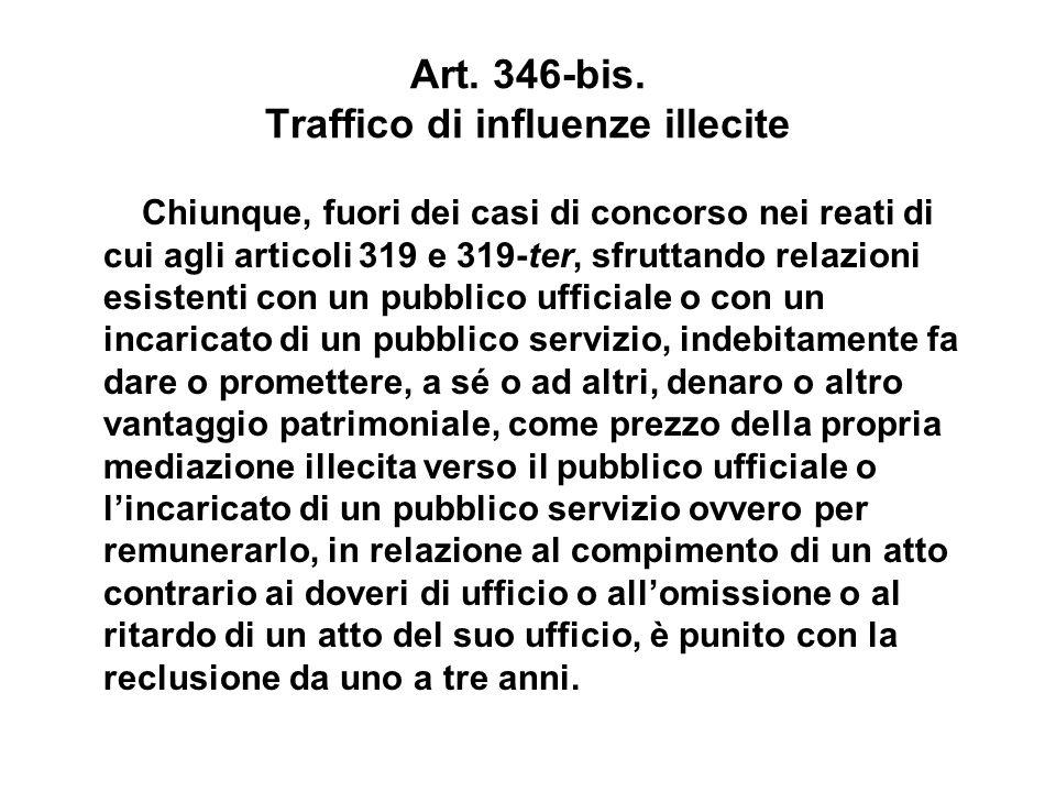 Art. 346-bis. Traffico di influenze illecite