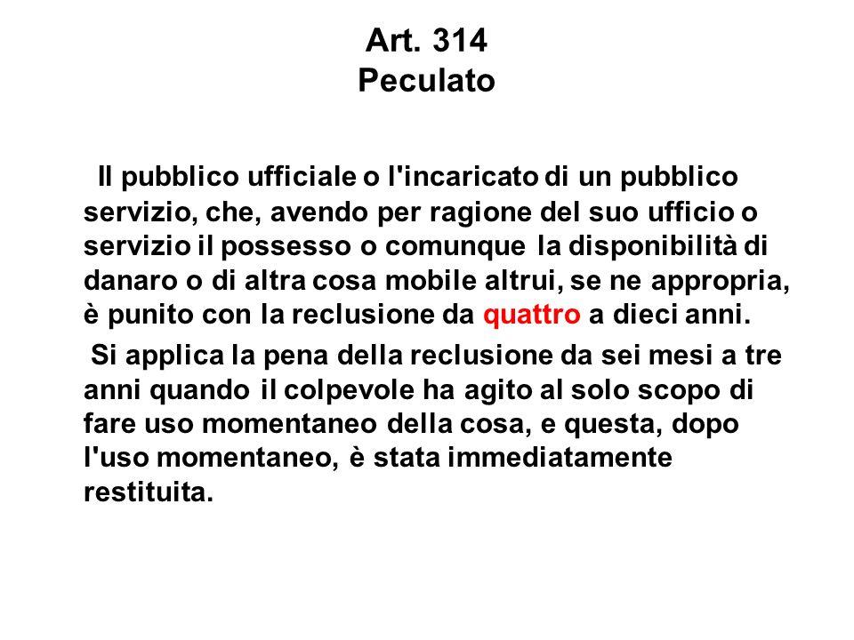 Art. 314 Peculato