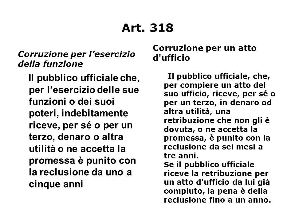 Art. 318 Corruzione per un atto d ufficio. Corruzione per l'esercizio della funzione.