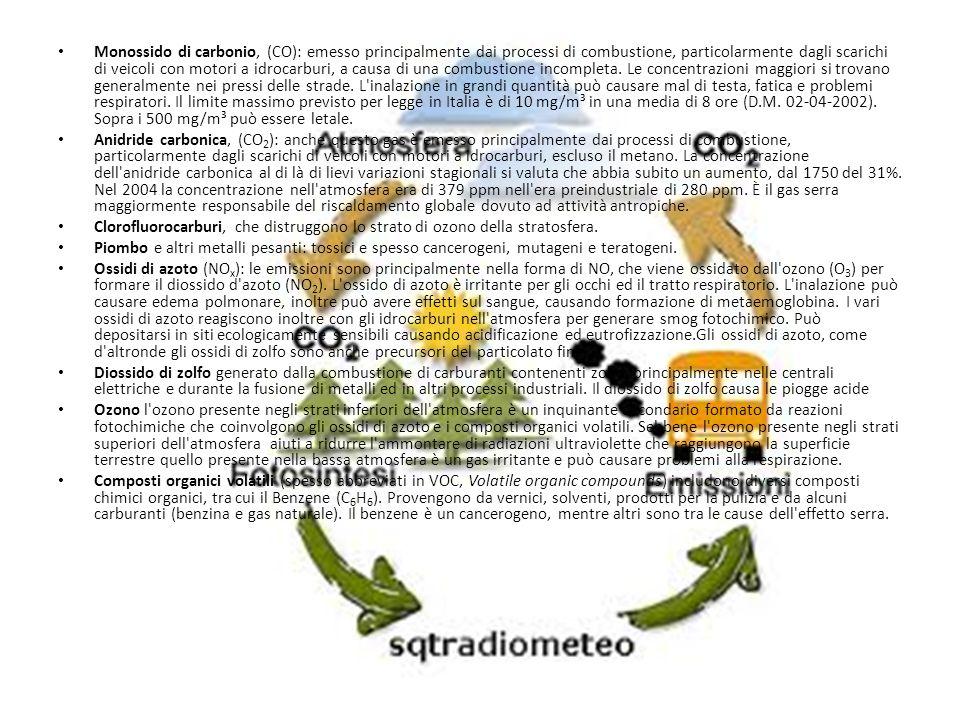 Monossido di carbonio, (CO): emesso principalmente dai processi di combustione, particolarmente dagli scarichi di veicoli con motori a idrocarburi, a causa di una combustione incompleta. Le concentrazioni maggiori si trovano generalmente nei pressi delle strade. L inalazione in grandi quantità può causare mal di testa, fatica e problemi respiratori. Il limite massimo previsto per legge in Italia è di 10 mg/m³ in una media di 8 ore (D.M. 02-04-2002). Sopra i 500 mg/m³ può essere letale.