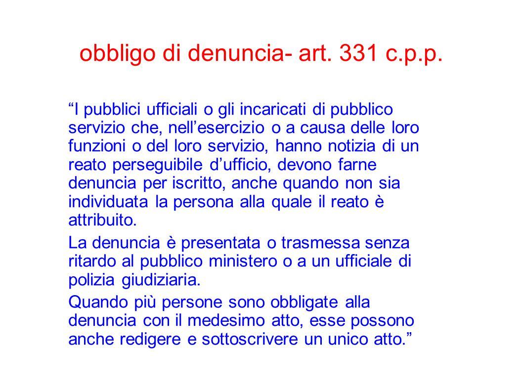 obbligo di denuncia- art. 331 c.p.p.