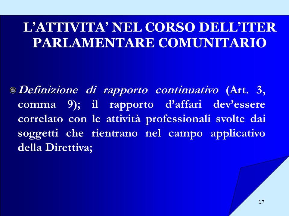L'ATTIVITA' NEL CORSO DELL'ITER PARLAMENTARE COMUNITARIO