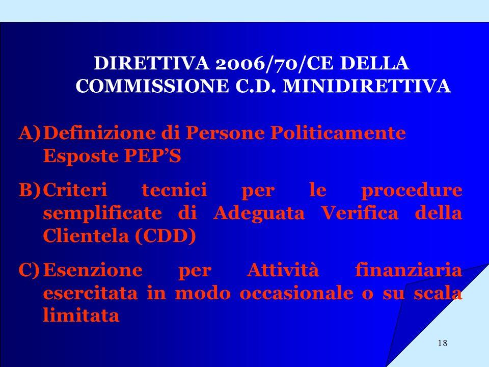 DIRETTIVA 2006/70/CE DELLA COMMISSIONE C.D. MINIDIRETTIVA