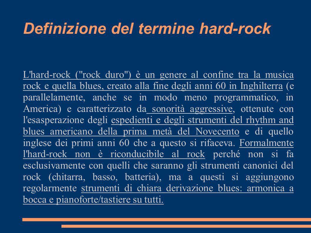 Definizione del termine hard-rock