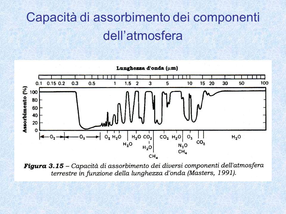 Capacità di assorbimento dei componenti dell'atmosfera