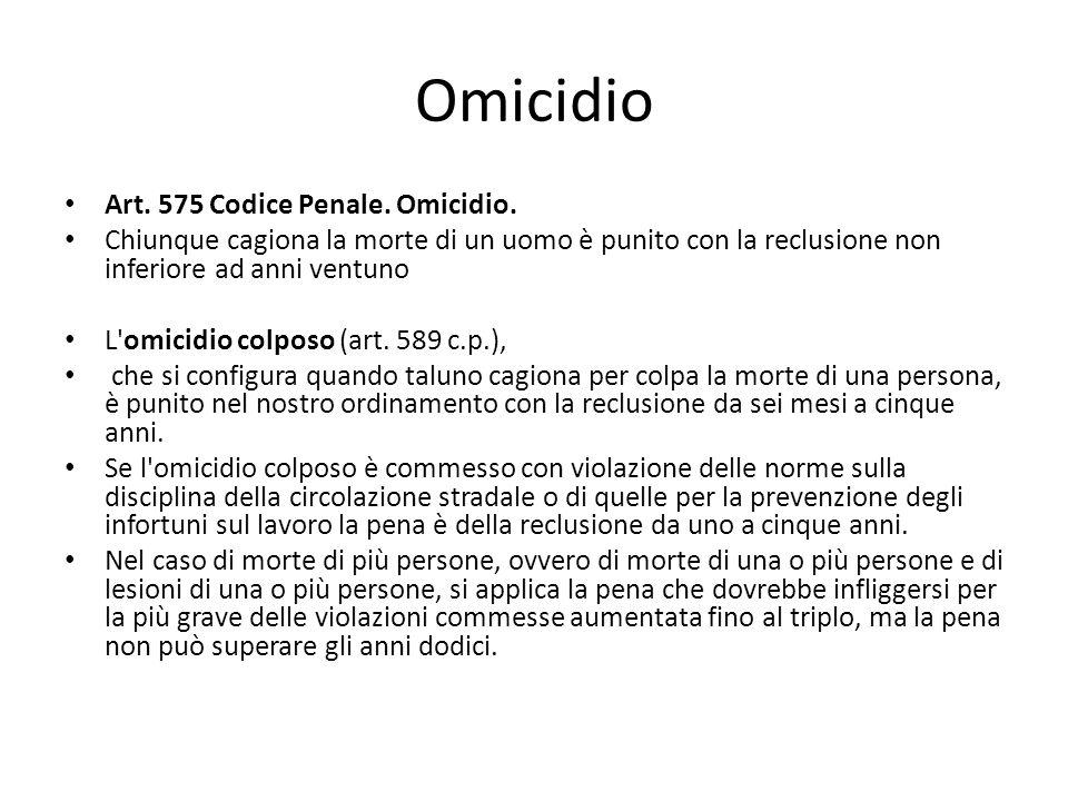 Omicidio Art. 575 Codice Penale. Omicidio.