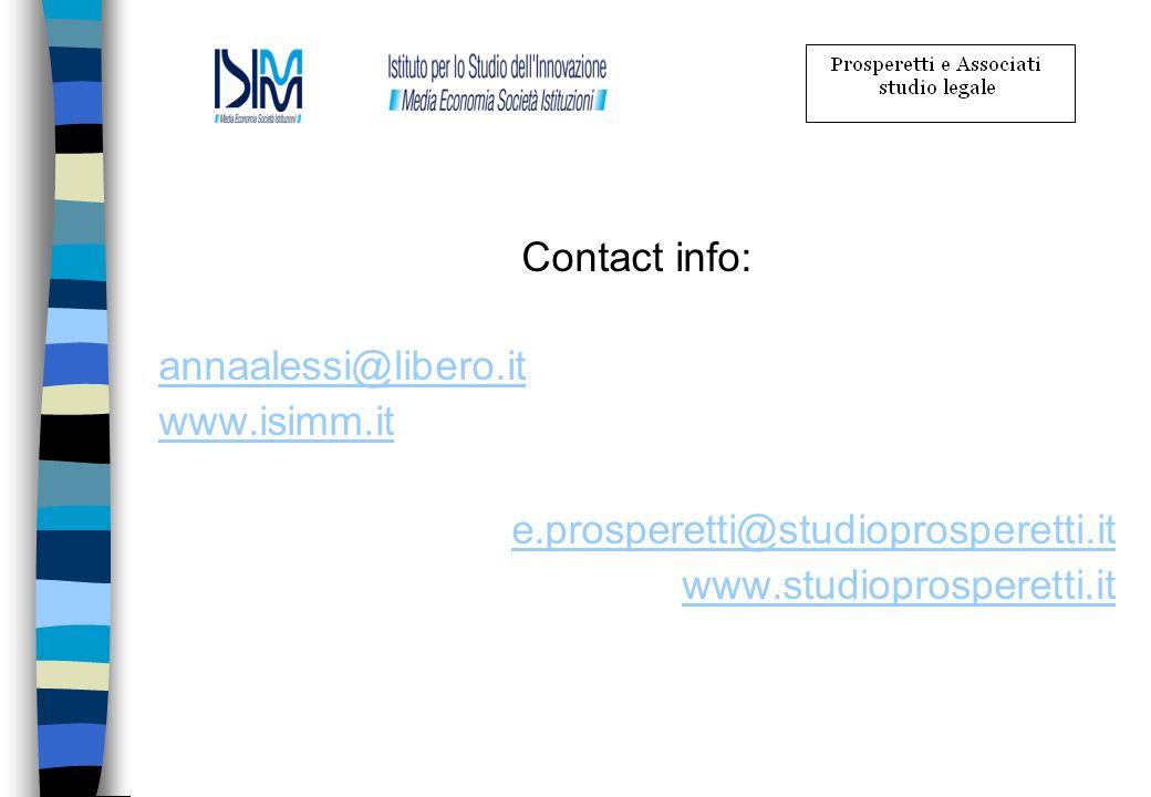 Contact info:annaalessi@libero.it.www.isimm.it. e.prosperetti@studioprosperetti.it.