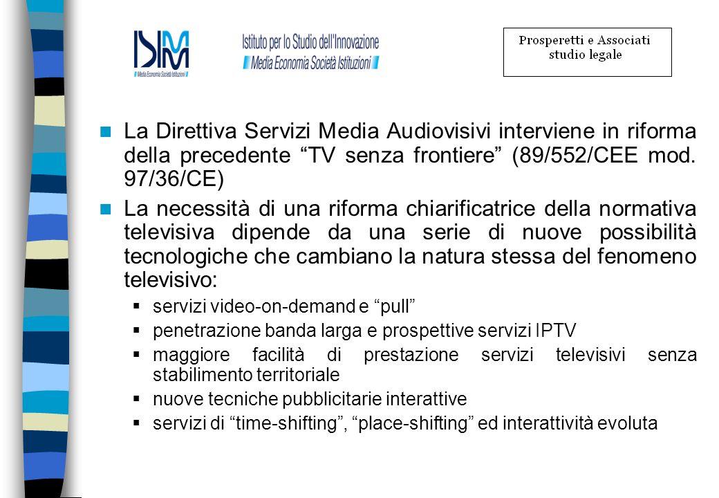 La Direttiva Servizi Media Audiovisivi interviene in riforma della precedente TV senza frontiere (89/552/CEE mod. 97/36/CE)