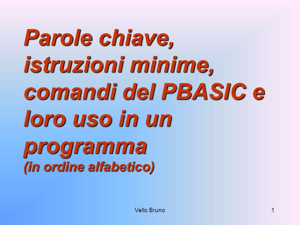 Parole chiave, istruzioni minime, comandi del PBASIC e loro uso in un programma (in ordine alfabetico)