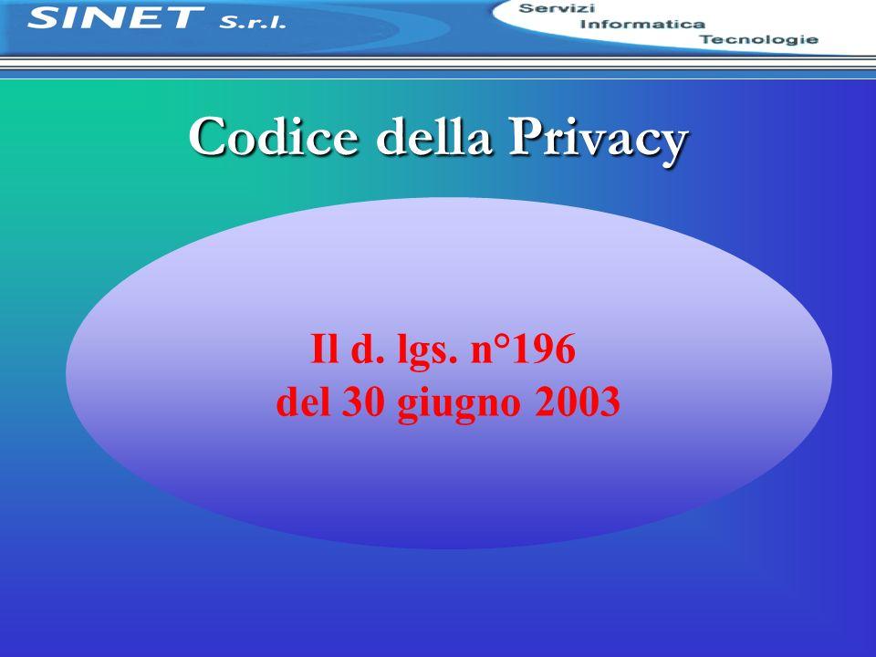 Codice della Privacy Il d. lgs. n°196 del 30 giugno 2003