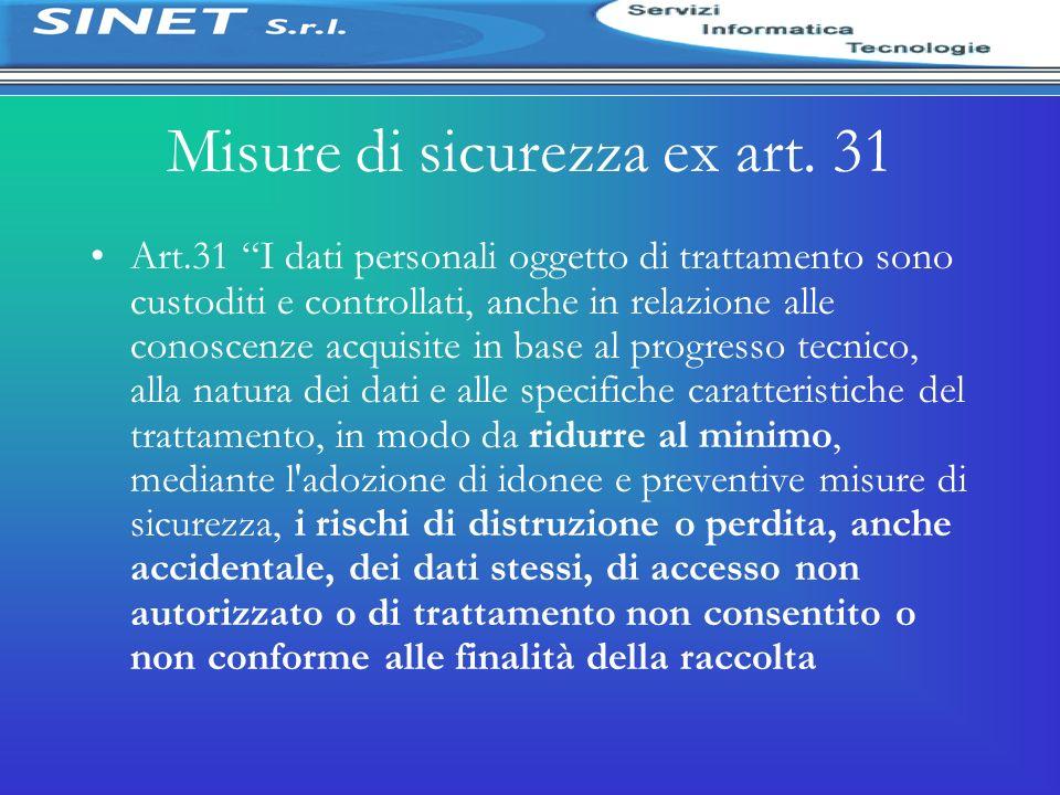 Misure di sicurezza ex art. 31