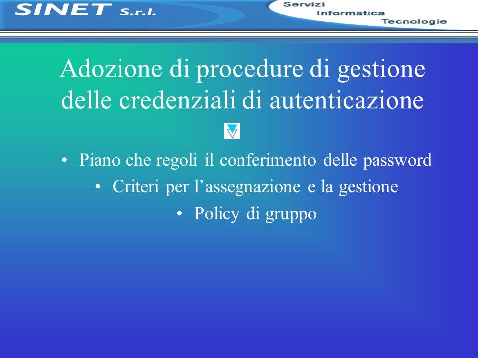 Adozione di procedure di gestione delle credenziali di autenticazione