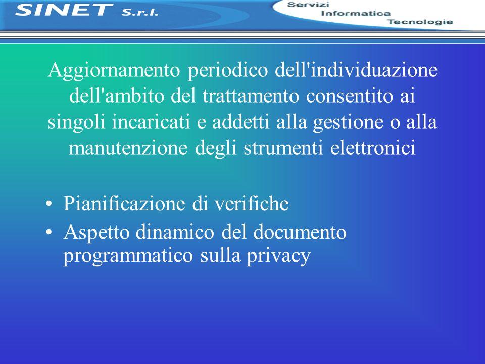 Aggiornamento periodico dell individuazione dell ambito del trattamento consentito ai singoli incaricati e addetti alla gestione o alla manutenzione degli strumenti elettronici