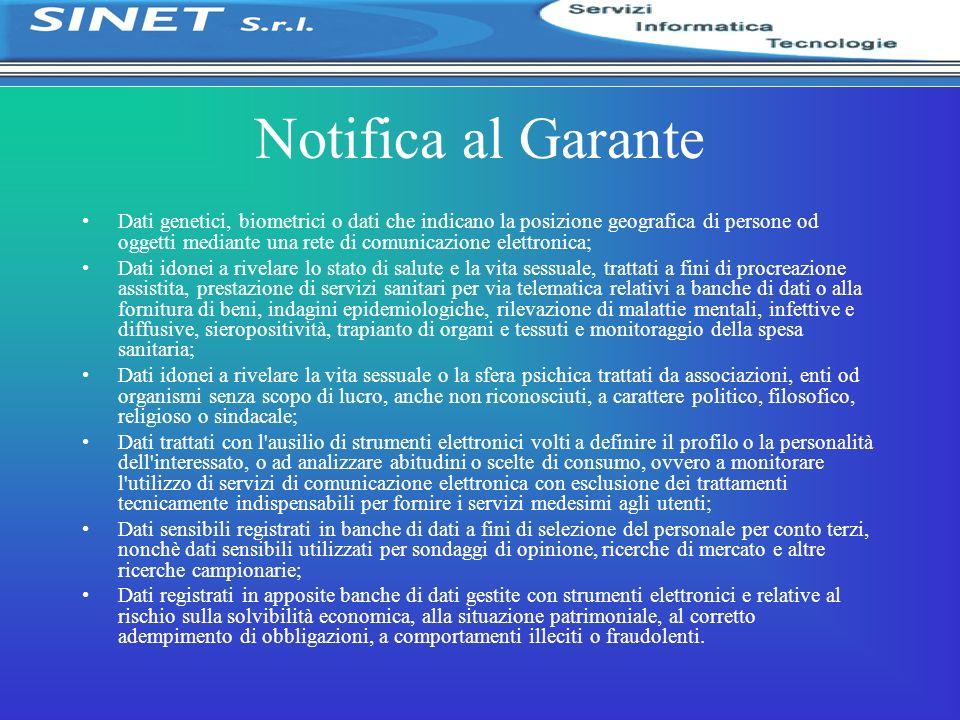 Notifica al Garante