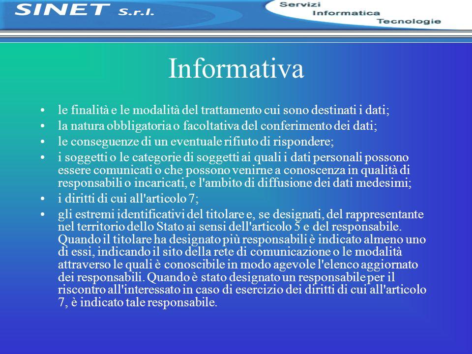 Informativa le finalità e le modalità del trattamento cui sono destinati i dati; la natura obbligatoria o facoltativa del conferimento dei dati;