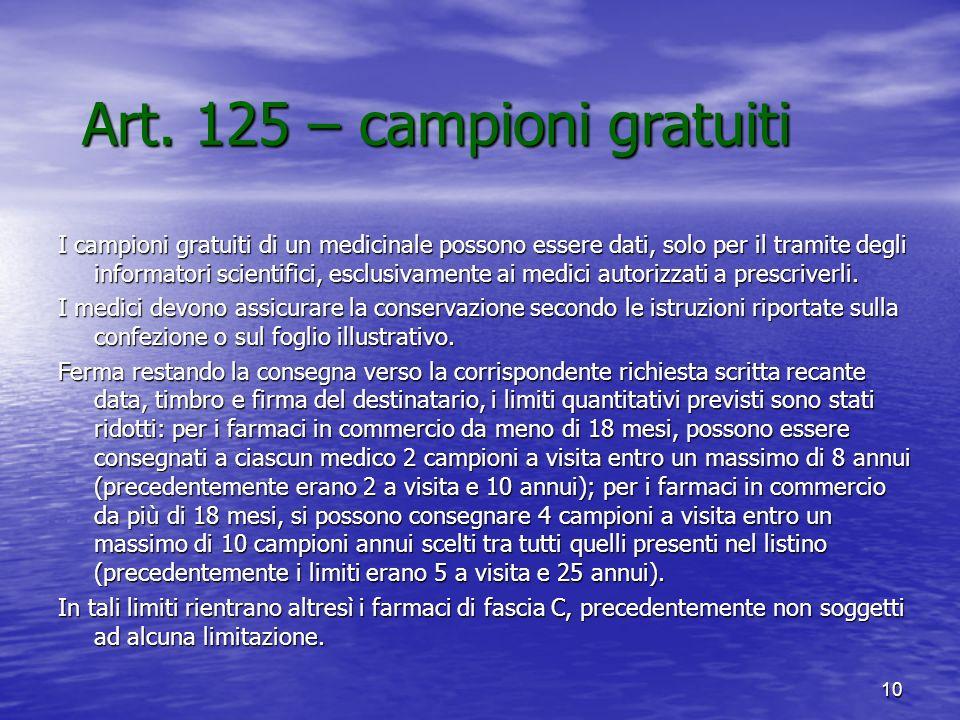 Art. 125 – campioni gratuiti