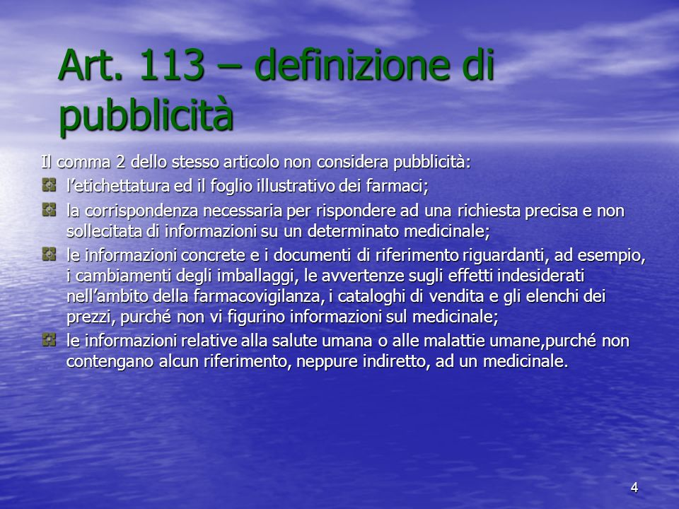 Art. 113 – definizione di pubblicità